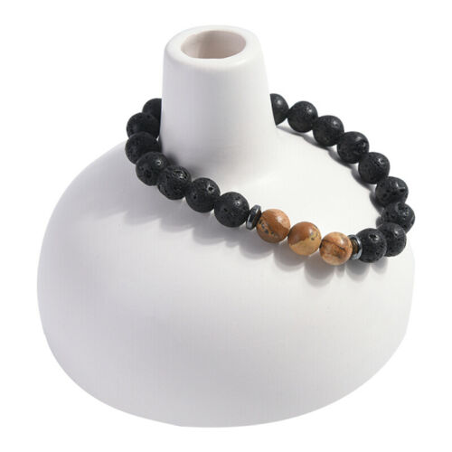 8mm Men/'s Natural Lava Rock Stone Elastic Charm Yoga Beads Bracelet Gift//Jewelry