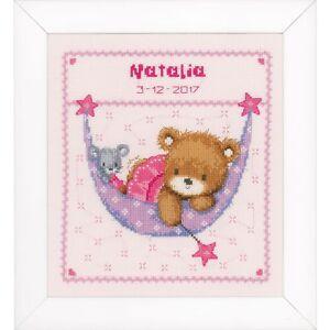 image is loading vervaco 0148471 little bear in hammock birth record  vervaco 0148471 little bear in hammock birth record cross stitch      rh   ebay