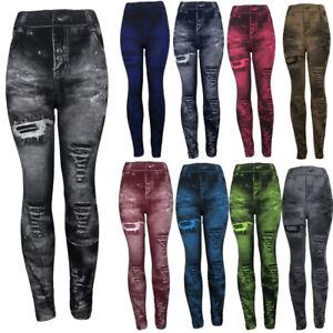 Women-039-s-Denim-Pants-Ripped-Slim-Leggings-Fitness-Plus-Size-Leggins-Length-Jeans