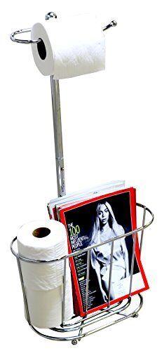 Toilet Tissue Paper Roll Holder Magazine Rack Stand Storage Bathroom Organizer