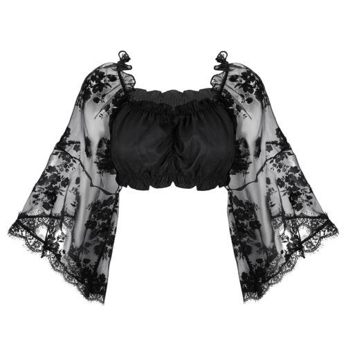 Women Sheer Lace Chiffon Bolero Cropped Shrug T Shirt Crop Top Cardigan Sweater