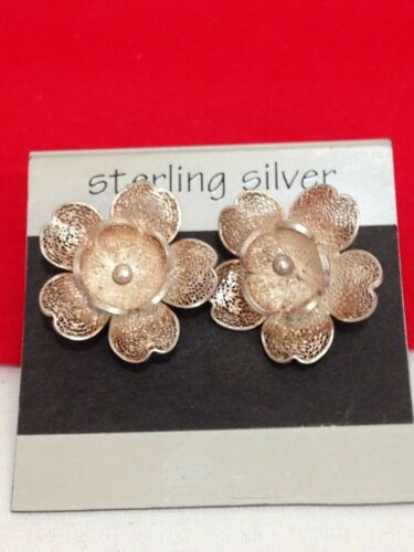 Vintage Flower Shaped Crystals Inlay Pin Brooch 925 Sterling Bb 85 273818581785