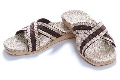 Healthy Comfortable Bamboo Charcoal  Hemp Jute Slippers Sandals dark gray men
