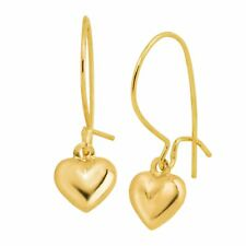 Eternity Gold Puffed Heart Drop Earrings in 14K Gold