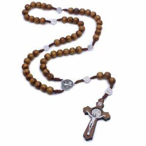 Main-Ronde-Perle-Catholique-Chapelet-Croix-Religieux-Bois-Perles-Breloque-Collie