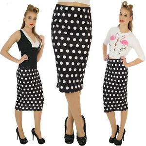 Scuba-Wiggle-lapiz-falda-clasico-anos-50-Vintage-Lunares-Rockabilly-alternativa