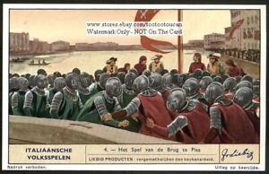 The-Battle-Of-The-Bridge-Pisa-Italy-1930s-Trade-Ad-Card