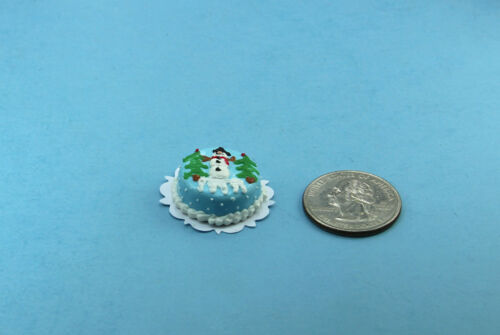 Dollhouse Miniature Christmas Holiday Cake Decorated with a Snowman #SP10048