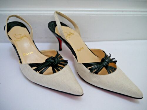 CHRISTIAN LOUBOUTIN beige linen and black leather