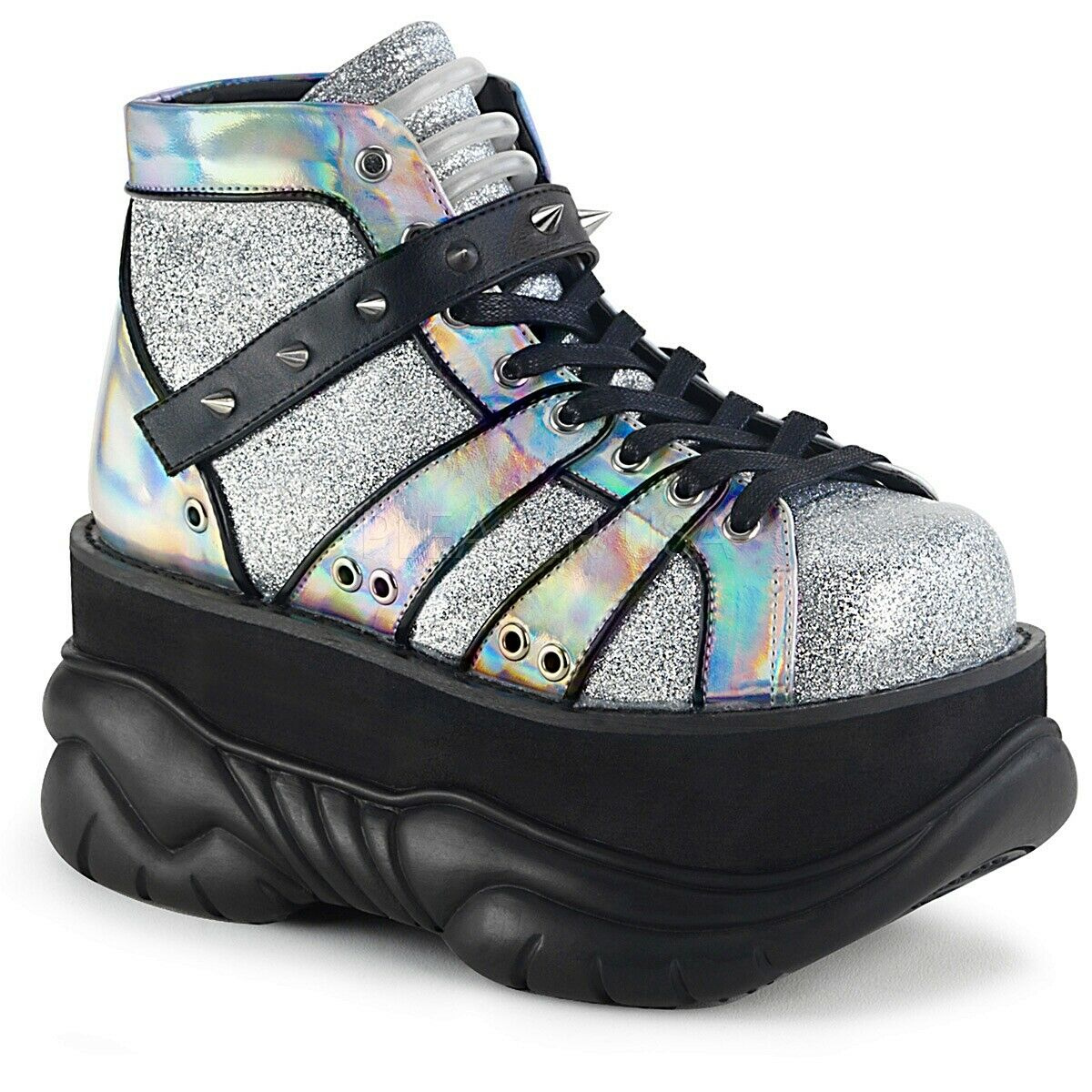 Demonia 3  Platform Silver Glitter Sneaker shoes Gothic Cyber 5 6 7 8 9 10 11 12