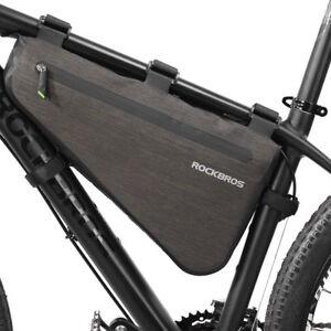 ROCKBROS Large Capacity Bicycle Triangle Bag Waterproof Tube Frame Bag Black 3L