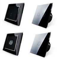 Lichtschalter Glas Touchscreen Wechselschalter,Kreuzschalter Steckdose Schwarz