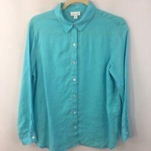 J-Jill-Love-Linen-Shirt-Women-s-Size-S-Long-Sleeve-Button-Down-Aqua-Blue-Top