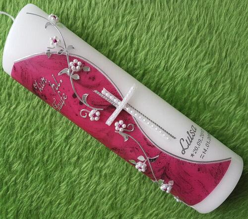 Taufkerze Mädchen pink