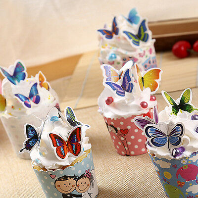 50x Butterflies Wedding Birthday Paper Cupcake Cake Toppers to QW