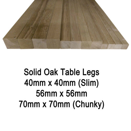 Various Sizes /& Heights Square Solid European Oak Table Legs// Posts Set of 4