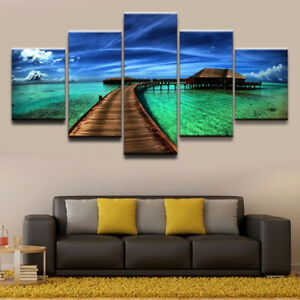 Wooden Bridge Pavilion Beach 5 panel canvas Wall Art Home Decor Poster Picture