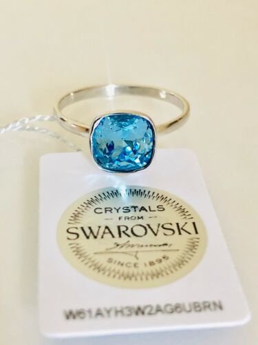 925 Sterling Silver Ring Decorated With Aquamarine Swarovski Crystal