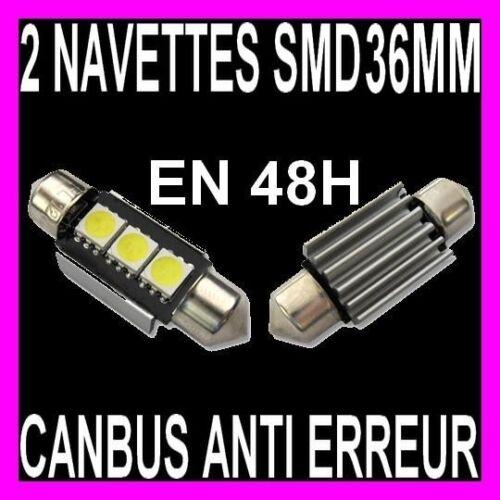 2 NAVETTE A 3 LED SMD C5W 36MM ANTI ERREUR  BOITE A GANTS LISEUSE PORTIERE XENON