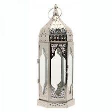 Linterna marroquí de Mesa de Plata Vintage Grande sostenedor de vela Boda - 35cm