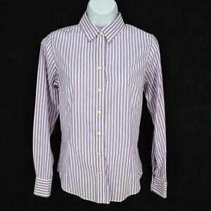 Banana-Republic-Button-Up-Shirt-Womens-Size-4-Purple-Striped-Stretch-Long-Sleeve