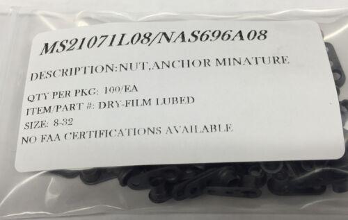 MS21071L08 NAS696A08 NUT 1 LUG REDUCED RIVET  STEEL DRY FILM  SIZE 8-32 100//PK