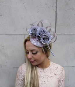8df8b18a4c4 Grey Light Pink Quill Feather Rose Flower Pillbox Hat Fascinator ...