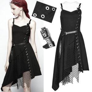 EN-STOCK-Robe-asymetrique-gothique-punk-lolita-fashion-resille-rivets-PunkRave