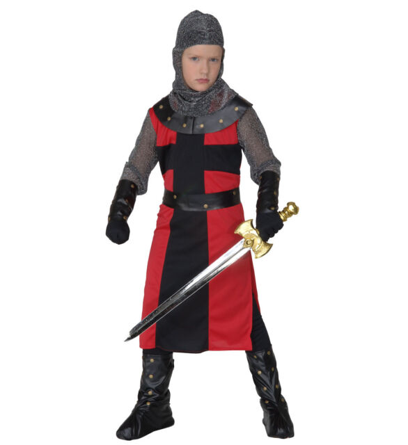 Boys Deluxe Dark Age Knight Fancy Dress Costume Medieval Crusader Historical