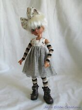 "Millie Tillie Kaye Wiggs 11"" BJD homespun & roses rag dress with tights by JEC"