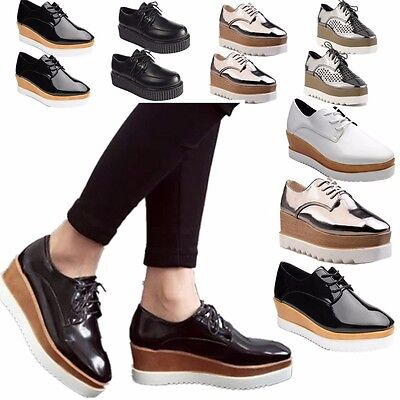 Womens Wedge Mid Heels Platform Shoes Lace up Brogue Oxford Chunky Creepers SZ