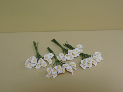 """4-1//8/"""" LONG 12 SMALL BUNCHES OF COLD PORCELAIN WHITE CALLA LILY"""