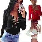 Sexy Womens Lace Up V-Neck Bandage Bodycon Long Sleeve T-Shirt Club Blouse Tops