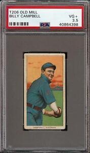 Rare 1909-11 T206 Billy Campbell Old Mill Cincinnati PSA 3.5 VG +
