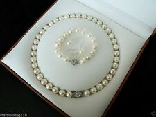14mm white South Sea shell pearl bracelet earring and necklace k841