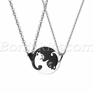 2pcs Mens Womens Couples Stainless Steel Matching Cute Cat Pendant Necklace Gift