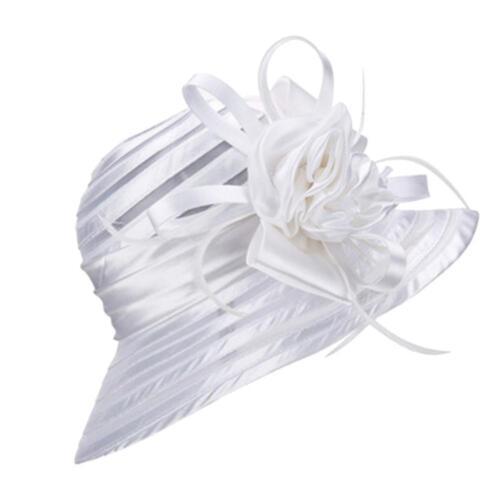 Fashion Church Wedding Kentucky Derby Satin 5 Colors Feather Floral Sun H Deko