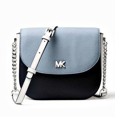 Michael Kors Bag Mott Dome Crossbody Leather Sky Blue New | eBay