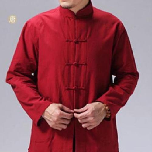 Mens Kung Fu Cotton Spring Tees Tops Casual Shirt Chinese Style Long Sleeve HOT