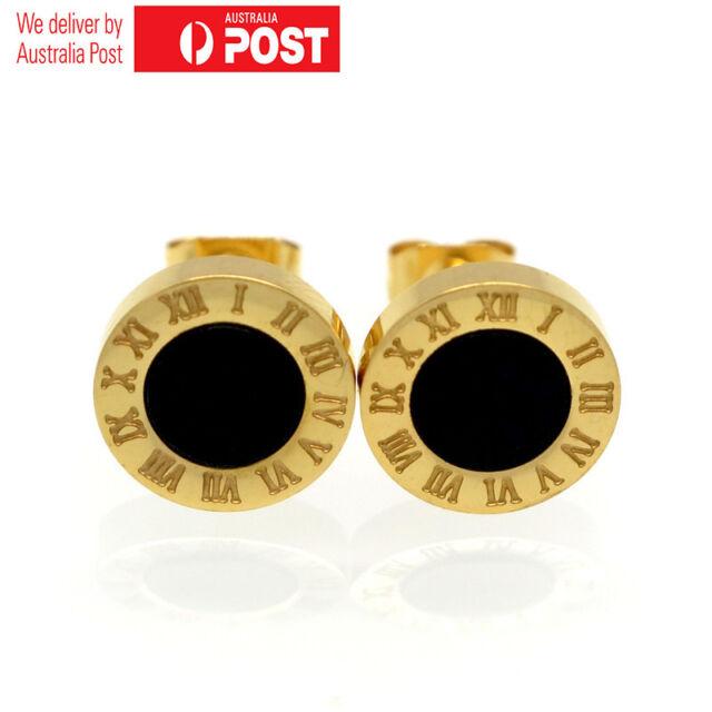 18K Rose Gold GF Black Mother of Pearl 10MM Roman Numerals Stud Earrings