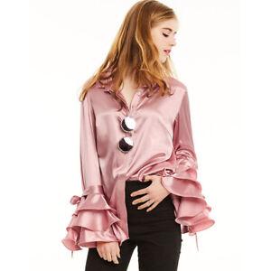 big sale 7452b 5fb50 Dettagli su Camicetta camicia maglia maniche rosa cipria manica larga  morbida elegante 4598