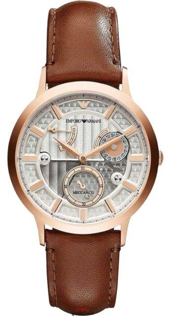 324eb4170 Emporio Armani Mens Meccanico Silver Dial Leather Strap Automatic Watch  AR4667