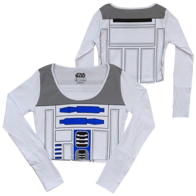 Star Wars R2D2 Licensed Women Junior Long Sleeve Crop Top Shirt S-XL