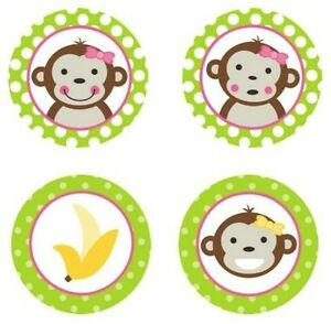 Baking Accs. & Cake Decorating Mod Monkey Girl {lime Green} Edible Cupcake Toppers Decoration