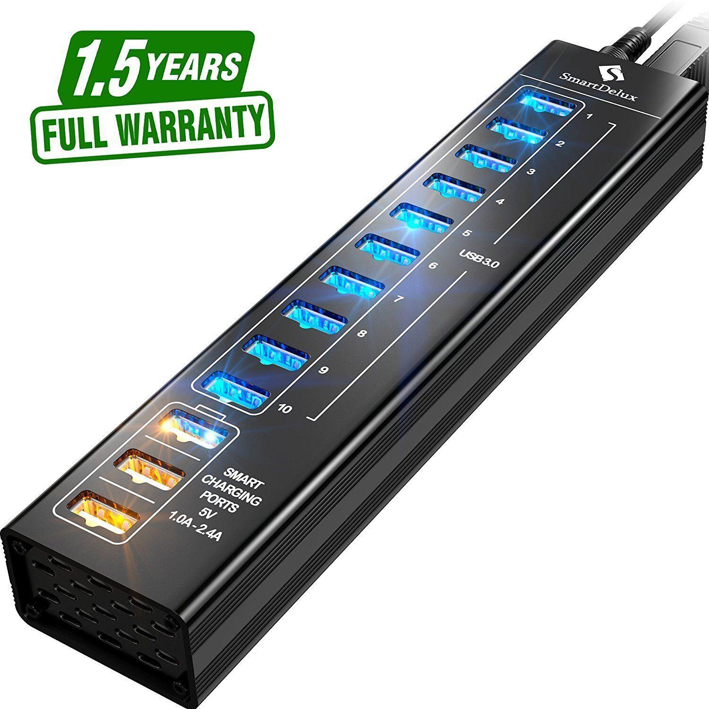 SmartDelux Powered USB Hub - 13-Port USB 3.0 Hub with 10 USB 3.0 Ports