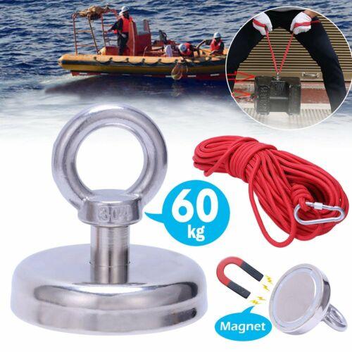 NEW 60kg PULL RECOVERY FISHING NEODYMIUM MAGNET TREASURE HUNTING KIT 10M ROPE PS