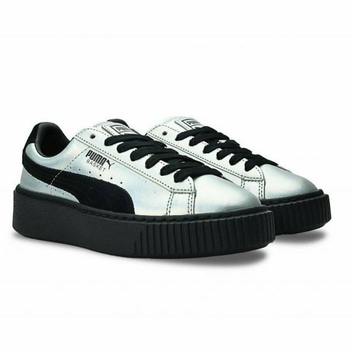 PUMA PLATFORM Explosive Wn's scarpe da ginnastica donna Pelle e suede argentoo-Nero  120