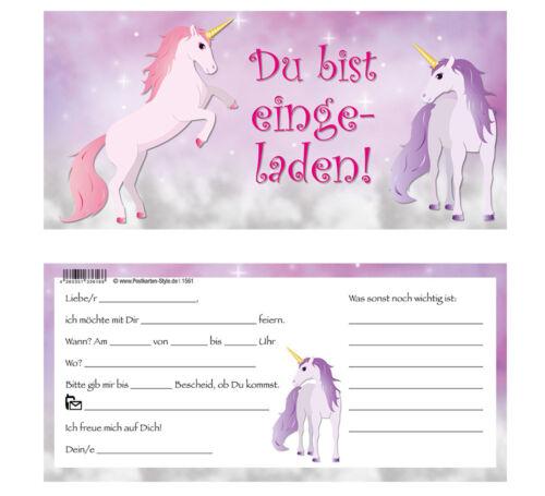10 Einladungskarten Einhorn Einladung Geburtstag Kindergeburtstag Pferde Pony