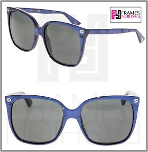 42b3f646ec Image is loading GUCCI-0022-Oversized-Navy-Blue-Pearl-Sunglasses-GG0022S-