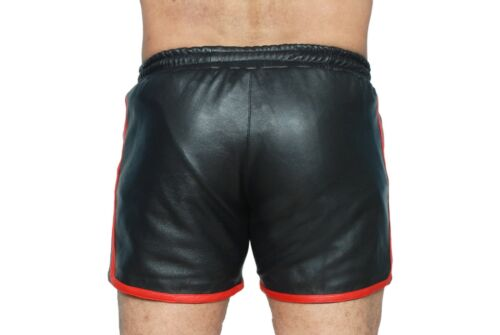 MENS REAL LAMBS LEATHER BLACK /& RED SHORTS Clubwear Genuine Leather